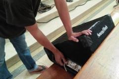 checking the audio equipment