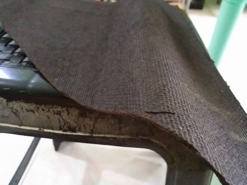 exposed side of the onduline material